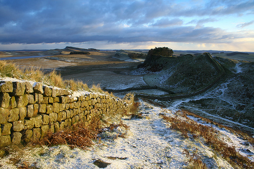 Landscape view of Hadrian's Wall in winter by stuandsam